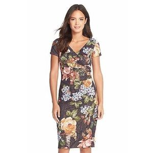 Adrianna Papell / Floral Pleated Faux Wrap Dress